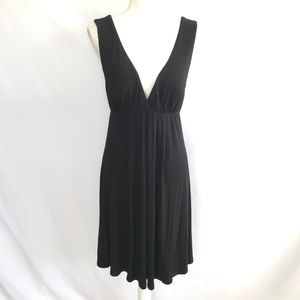 Kenneth Cole Black V-Neck Midi Dress